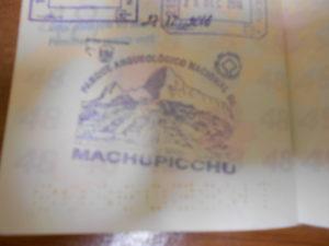 マチュピチュのパスポートスタンプ