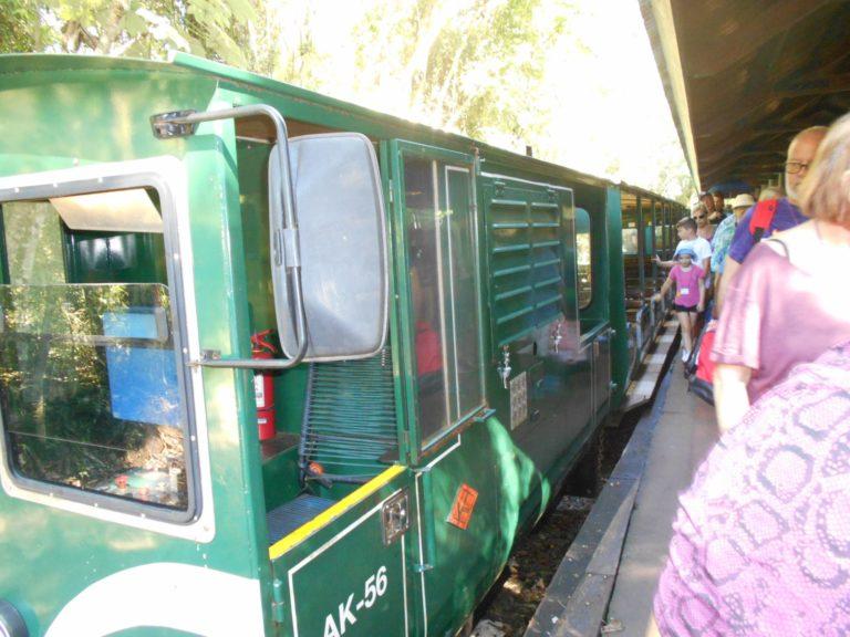 イグアス国立公園の混雑するトロッコ列車