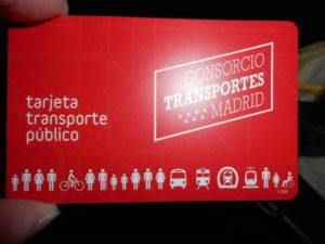 マドリードのメトロICカード