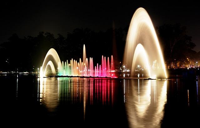 イビラプエラ公園の夜の噴水