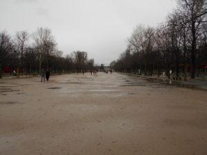 大雨の影響で人がいないチュイルリー公園
