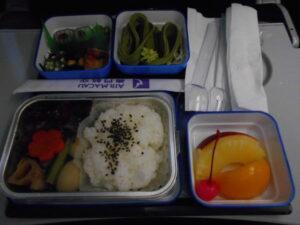 マカオ航空の機内食