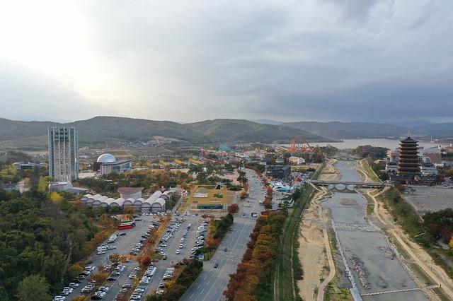 空から臨む「慶州」の街並み
